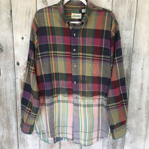 Vintage Dip Dyed Bleached Flannel Shirt Very Worn